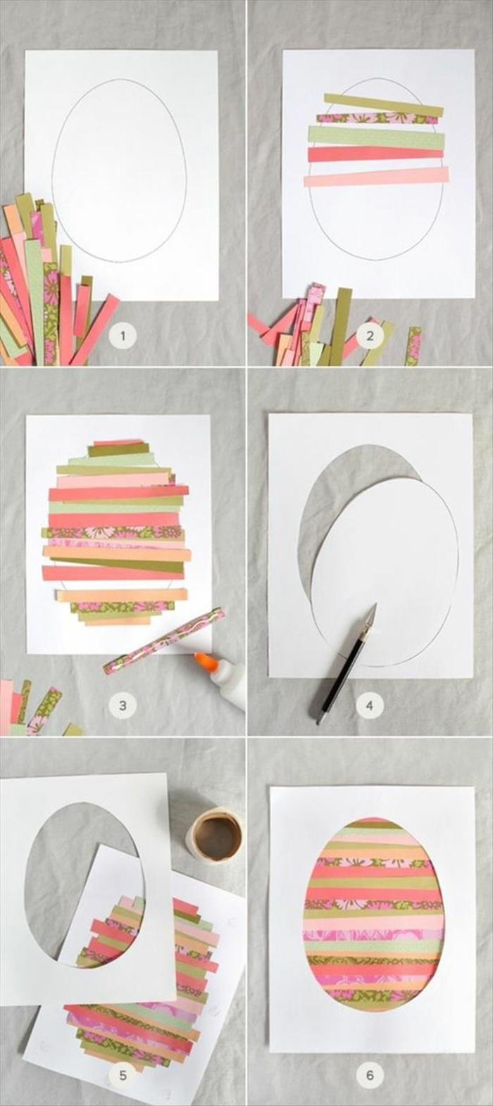 idée comment fabriquer une carte de paqus avec des bandes de papier multicolores, tutoriel carte de voeux originale, motifs divers, oeuf de paques