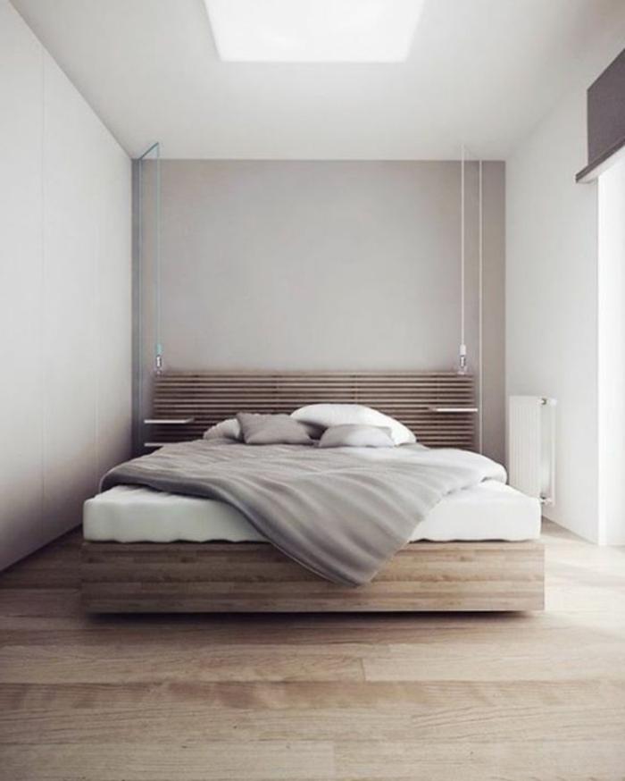 chabre à coucher minimaliste, lit plateforme et peinture murale grise