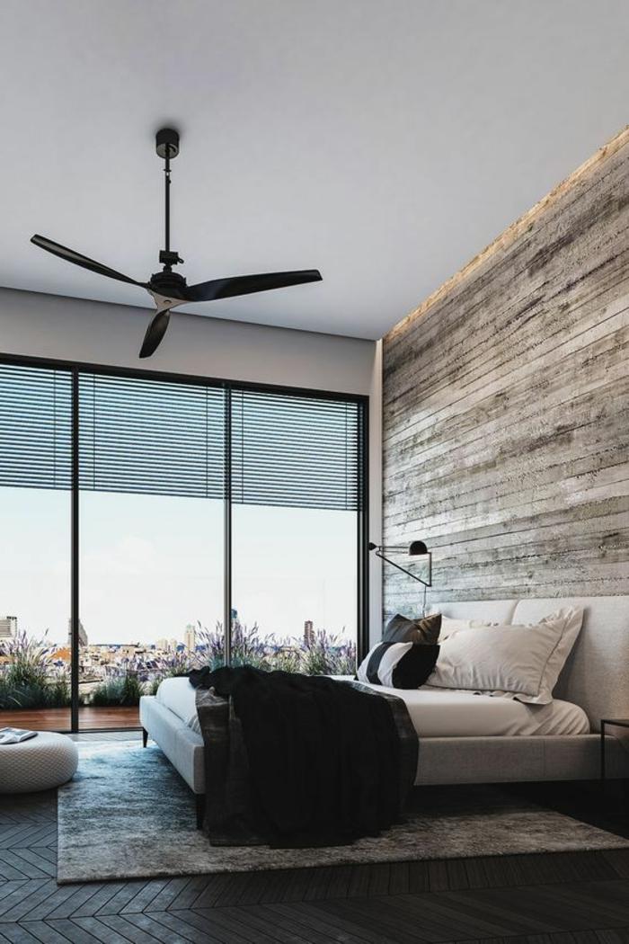 chambre à coucher minimaliste, revêtement mural en bois, grandes fenêtres du sol au plafond