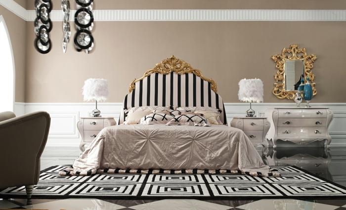lit baroque, tapis blanc et noir, miroir doré, meubles de charme, fauteuil baroque pas cher, décoration baroque