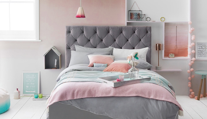 idee peinture chambre gris et rose avec des. Black Bedroom Furniture Sets. Home Design Ideas
