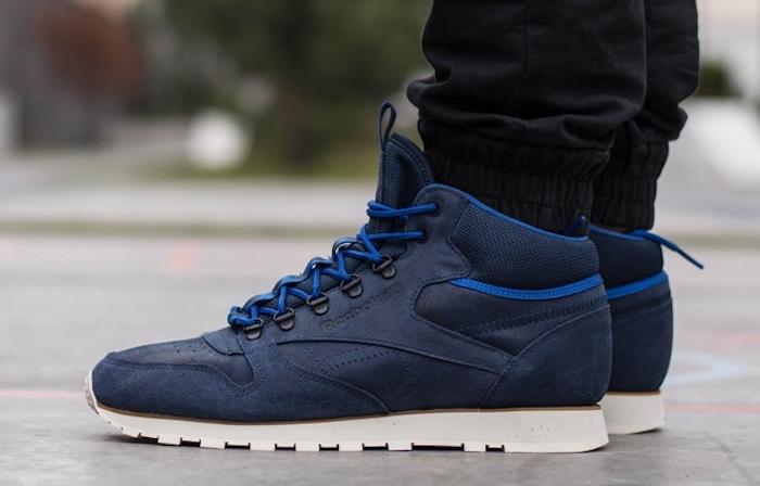 sneakers montantes reebok classic cuir montante bleu