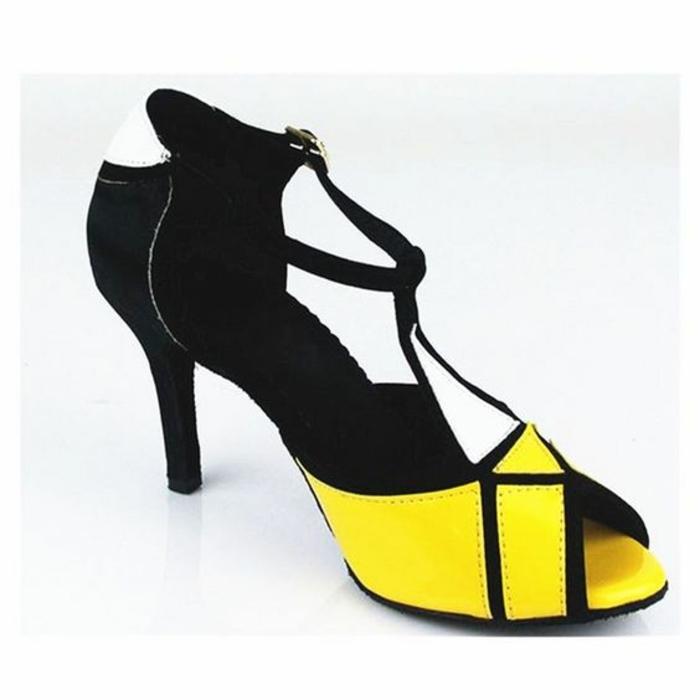 chaussures de dance en jaune et noir couleur flashy
