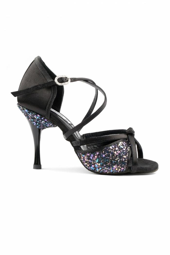 chaussures de danse en noir et strass multicolore talon aiguille