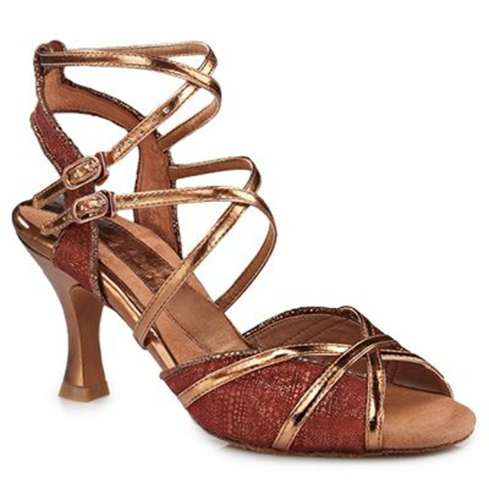 chaussures de danse effet spirale montante sur la cheville aux deux fermetures