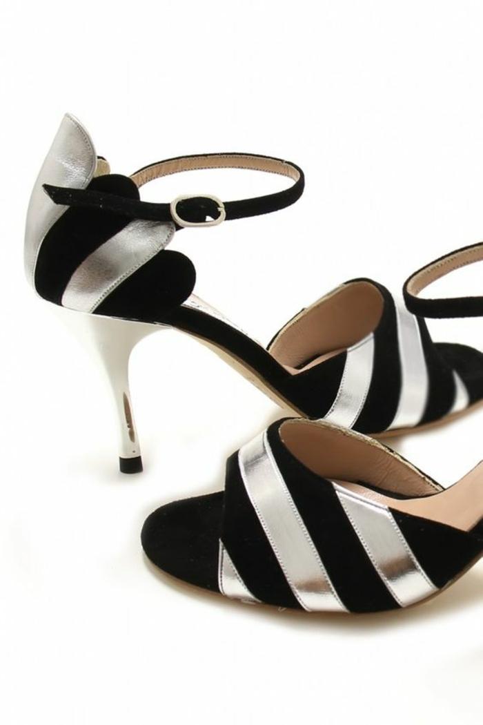 chaussures de danse en noir et en couleur argent bicolores talon slim