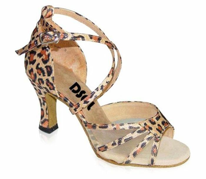 chaussures de danse léopard semi-transparentes de coté fermeture bande croisée devant