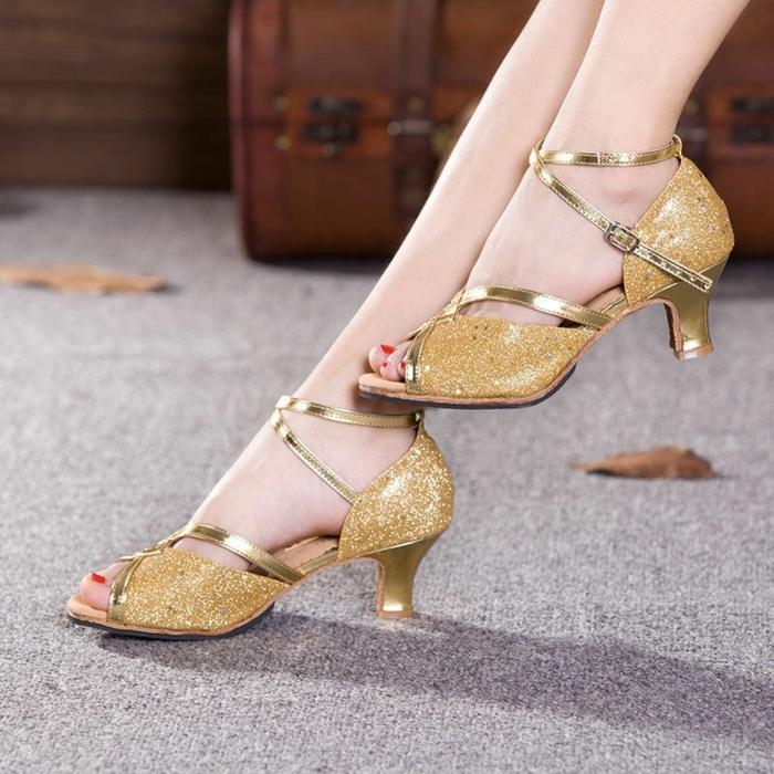 chaussures danses brillantes aux motifs pépites d'or au talon bas et stable