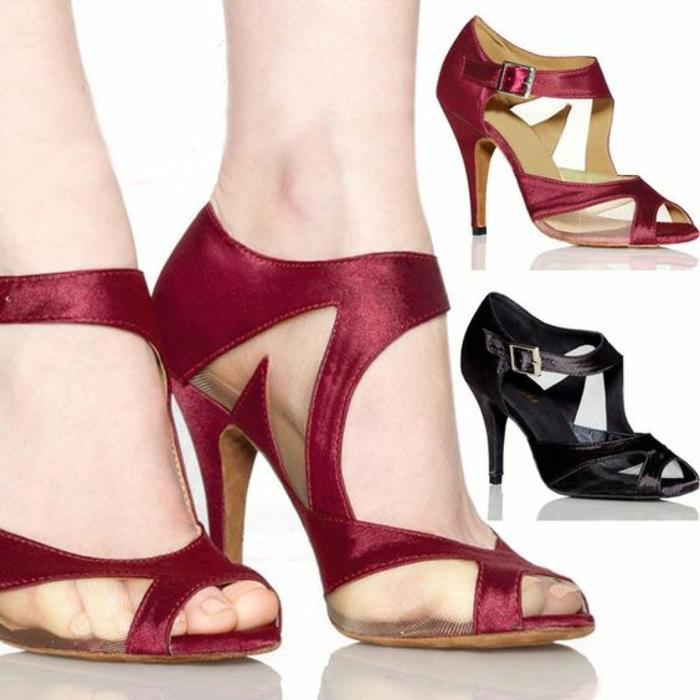 chaussures danses bourgoundi et noir talons hauts qui soutiennent la plante des pieds