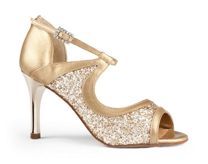 chaussures danse en couleur or luisant avec talon aiguille imitation métal blanc