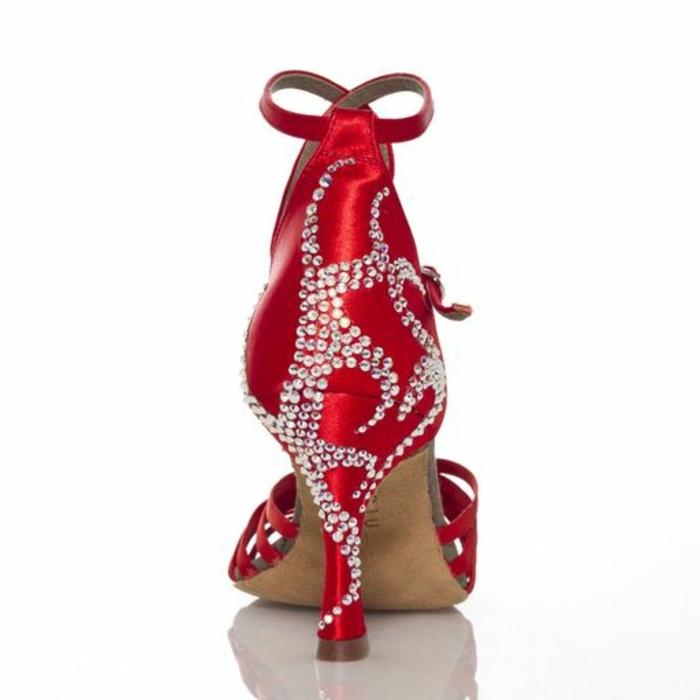 chaussures danse salon femme en rouge et blanc effet de spirale sur le talon