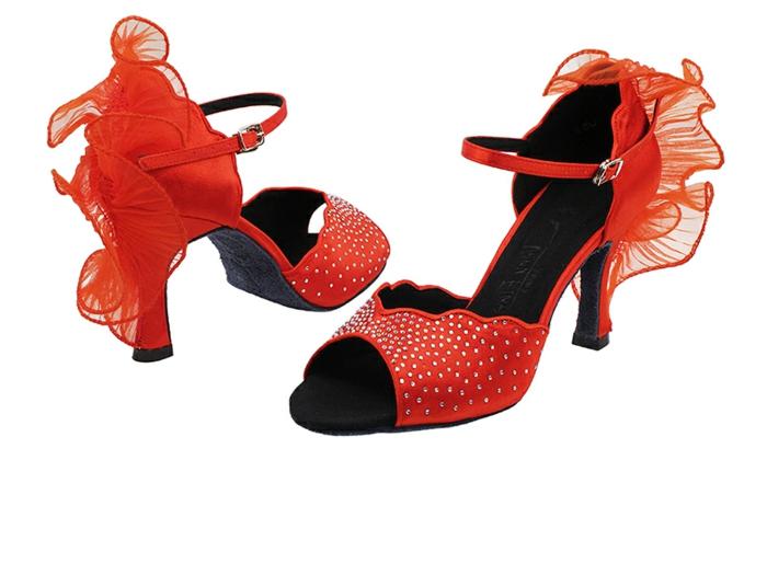 chaussures danses en couleur rouge corail à volants derrière