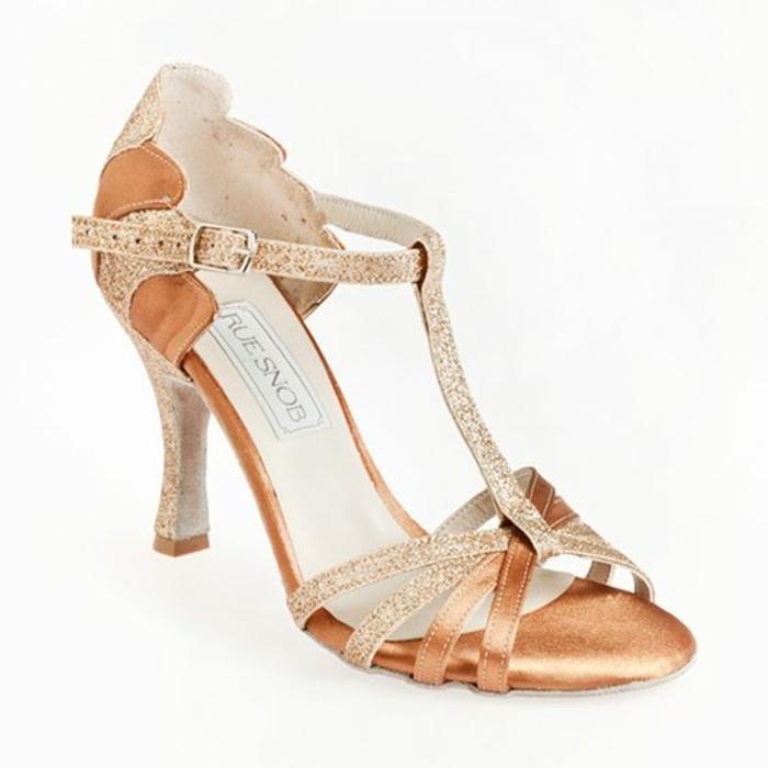 chaussures de danse beige et strass blanc Taconia pour les grandes compétitions et amateurs