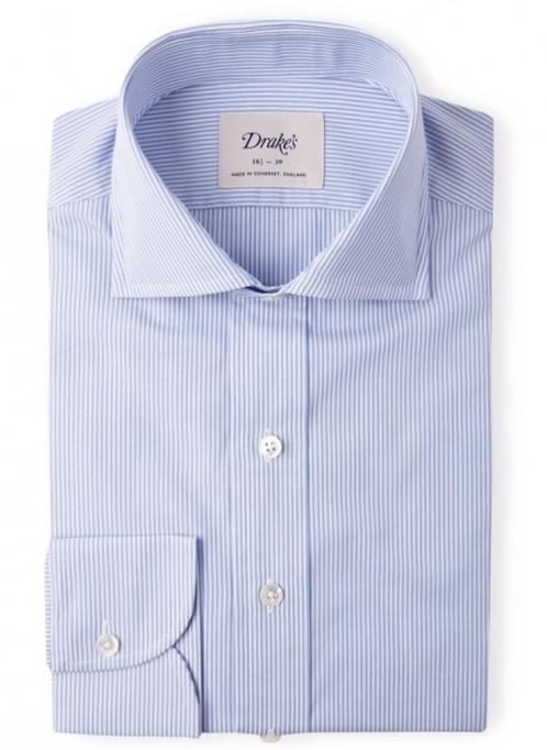 chemises hommes drakes a rayures habillée bleu chemise homme de marque luxe