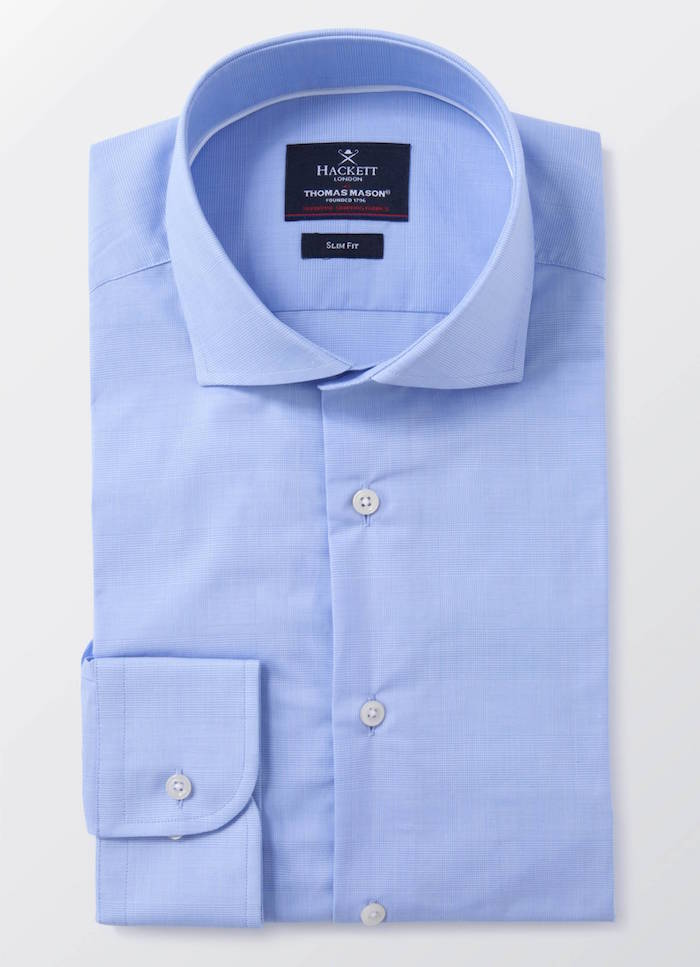 chemise homme thomas mason hackett habillée bleue luxe chemise homme de marque