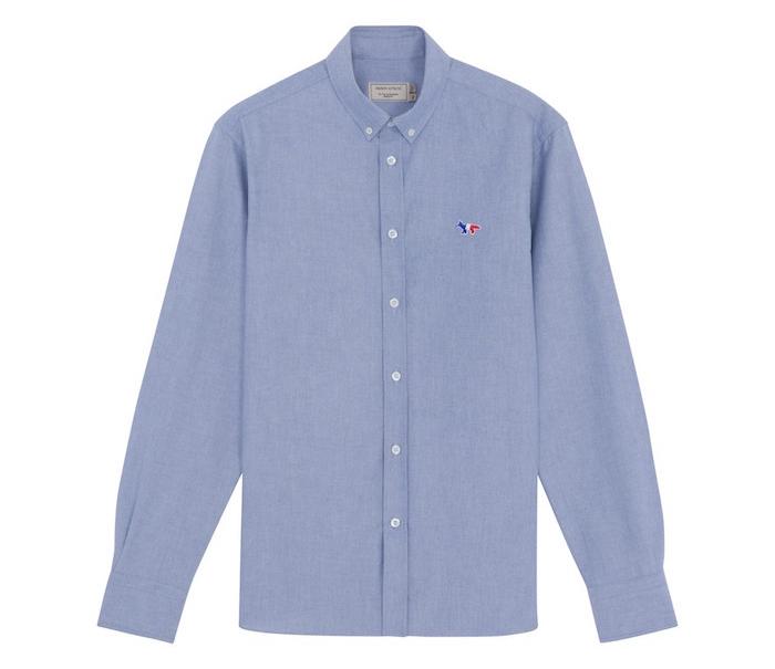 chemise oxford maison kitsuné homme tricolor bleu