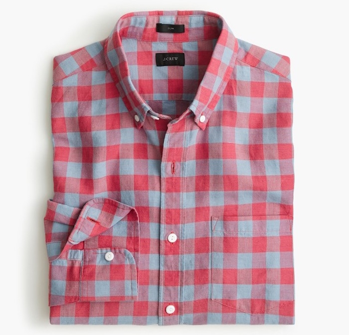 chemise a carreaux homme style hipster j crew rouge gris