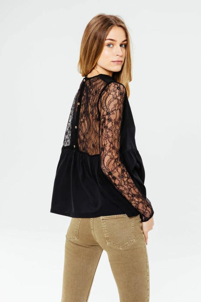 chemise femme avec dentelle dos et manches transparents