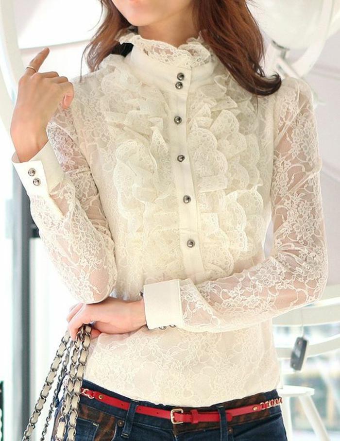 chemise femme dentelle manches longues avec des boutons imitant des perles noires