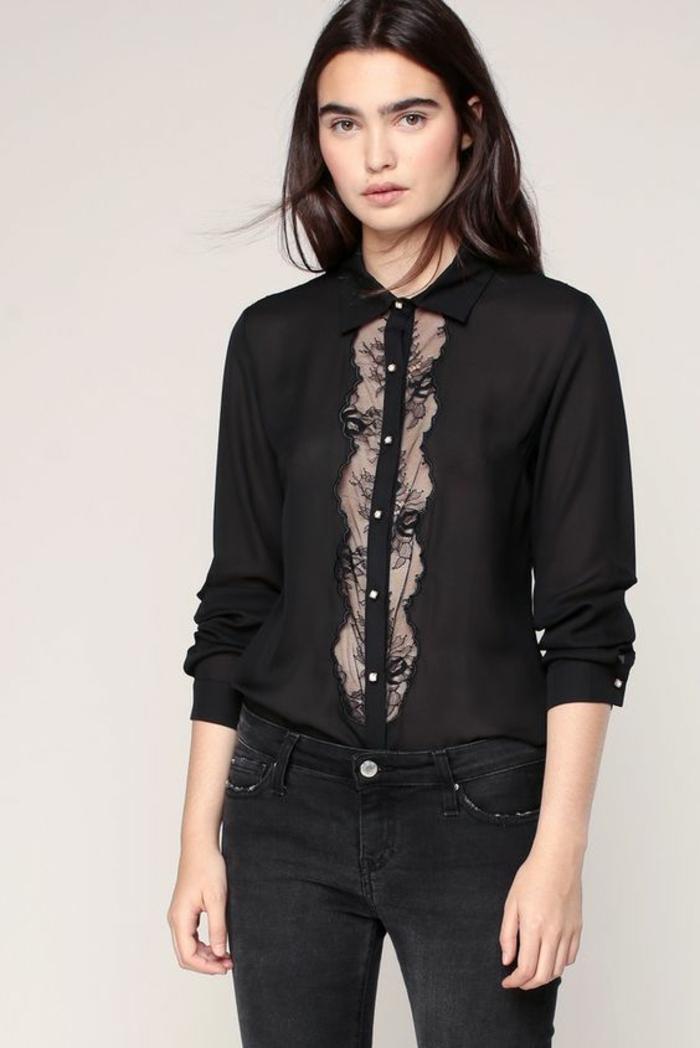 chemise femme dentelle transparente devant au-dessous des boutons