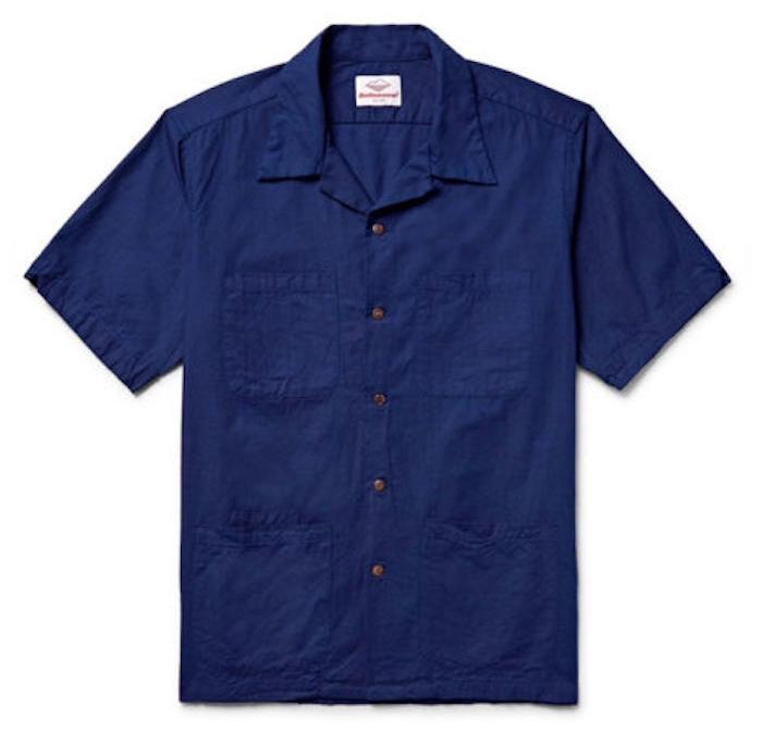 chemisette bleu marine coton battenwear chemise manche courte homme