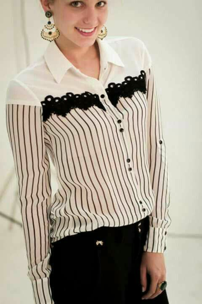 chemise femme dentelle aux manches longues en noir et blanc avec pantalon noir