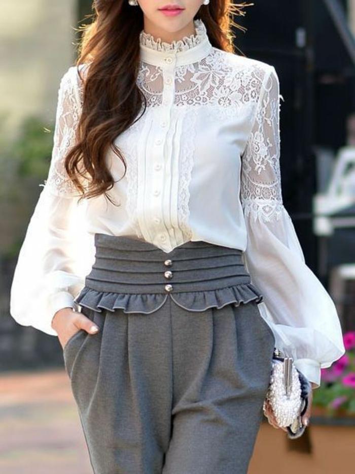 chemise femme avec dentelle aux manches bouffants et au col fermé allure recherchée