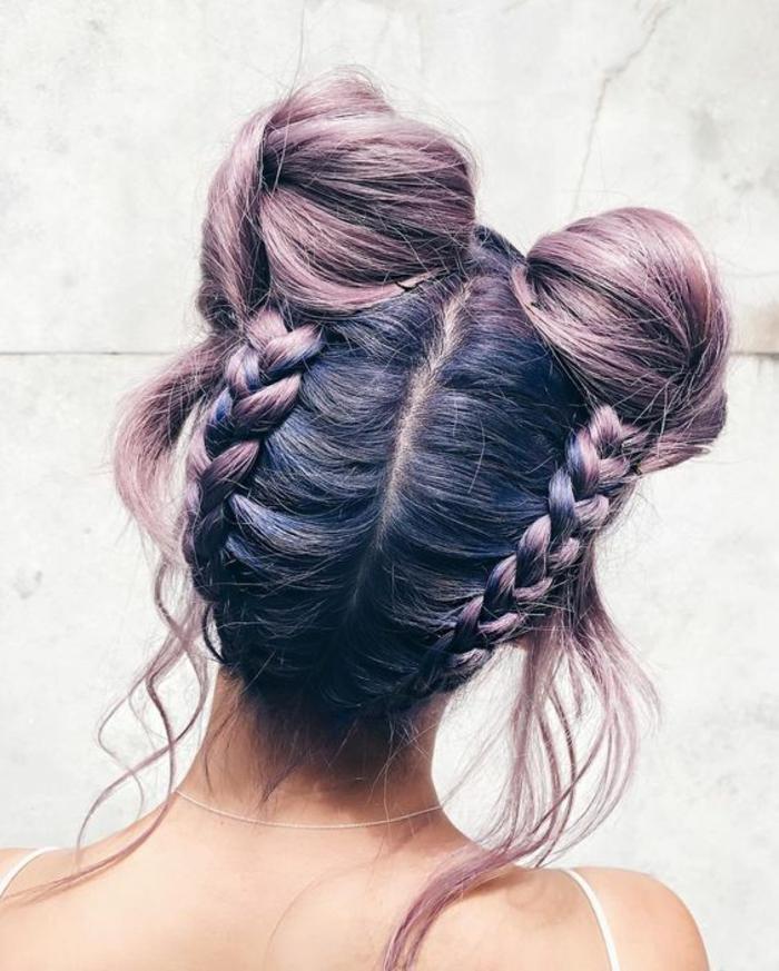 Magnifique coiffure boheme chic coiffure simple a faire tresse et buns cheveux violets