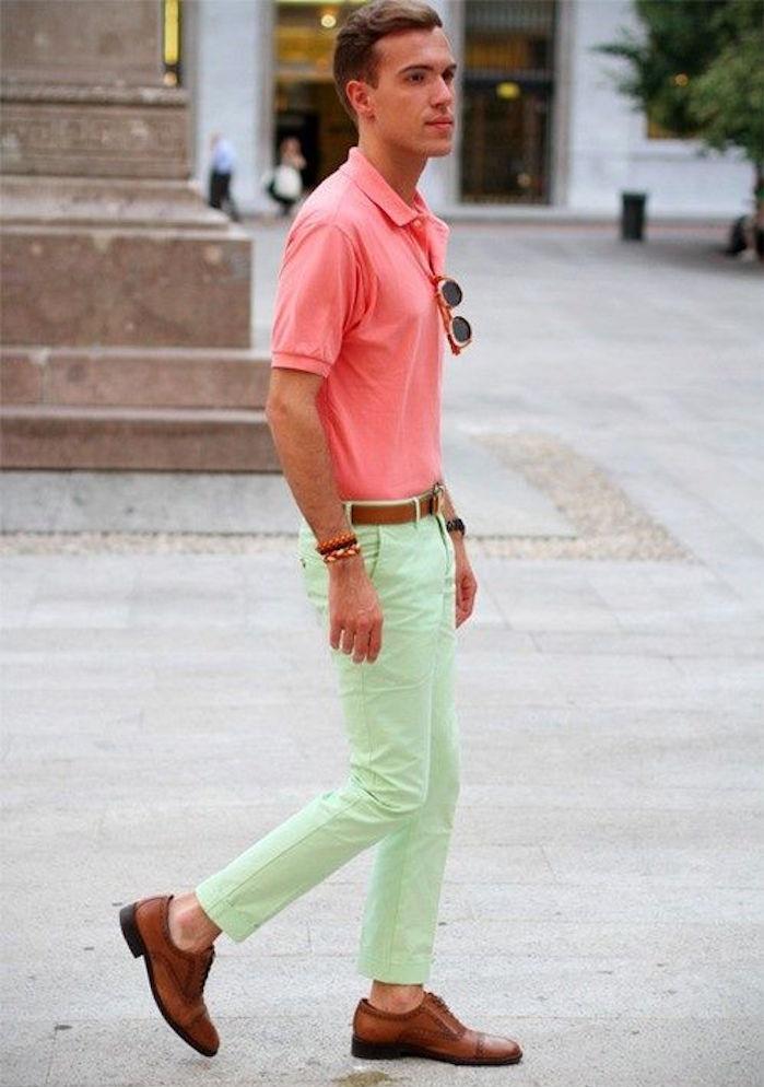 pantalon skinny homme vert clair chino été