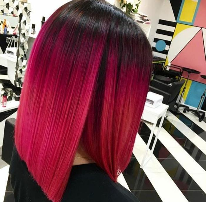 teinture rose foncé, cheveux raides noires, effet ombré avec nuances rose foncé, couleur flashy