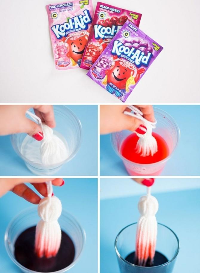 idée comment colorer le bout des pompons à franges, comment créer une DIY déco chambre soi meme, tutoriel