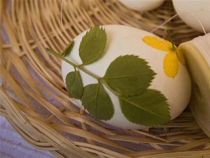 Oeufs de Pâques à décorer oeuf de pâques DIY déco avec herbes