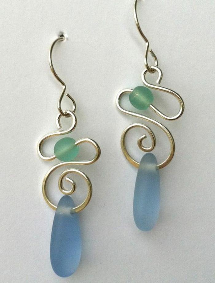 comment faire des boucles d'oreilles, pendentifs diy en perles et fil tordu