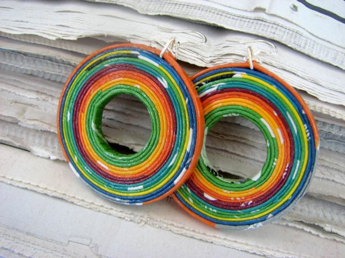 comment faire des boucles d'oreilles, anneaux colorés en papier