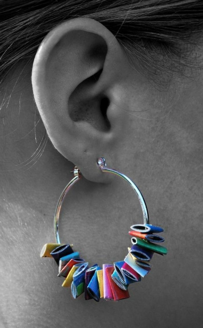 boucles d'oreilles diy avec un anneau et papier recyclé