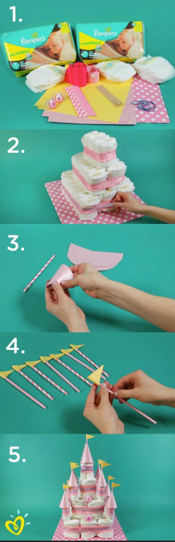 comment faire un gâteau de couches en forme de chateau, organiser une baby shower inoubliable