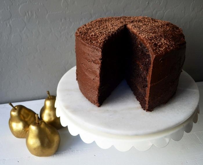 dessert sans oeuf, modèle de gâteau sans lait et oeufs au chocolat, idée gâteau еn layers chocolat sans oeufs
