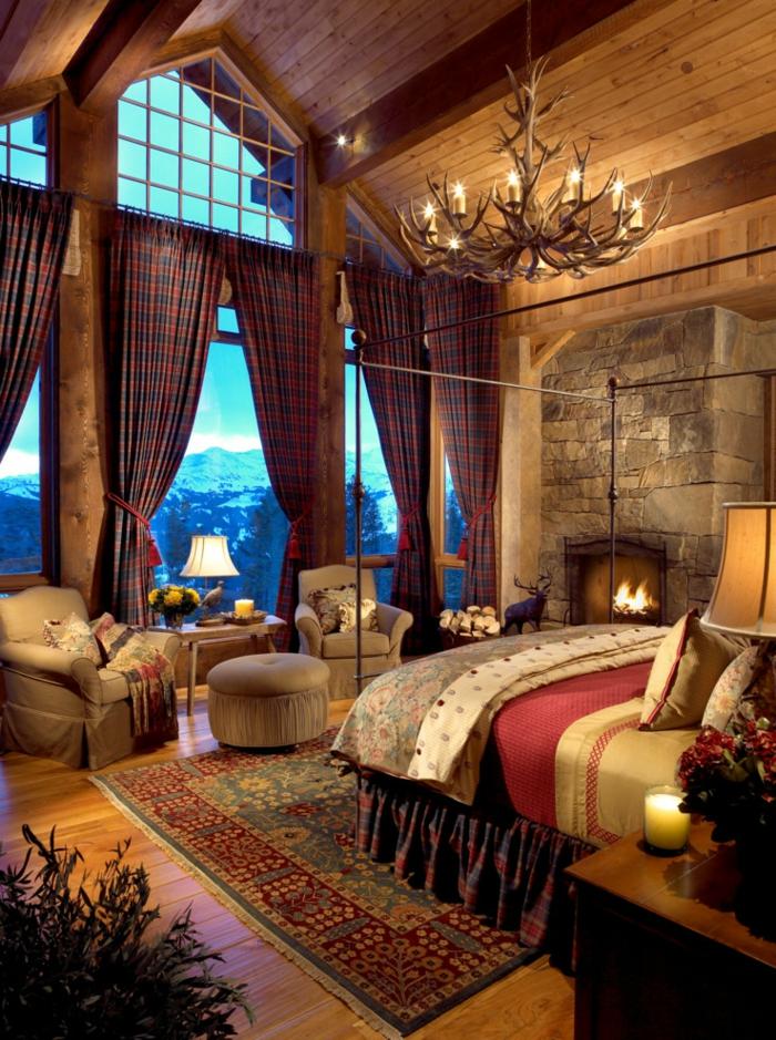 le nid douillet, tapis ethnique, tabouret, fauteuil en cuir, bougies, cadre de lit en fer