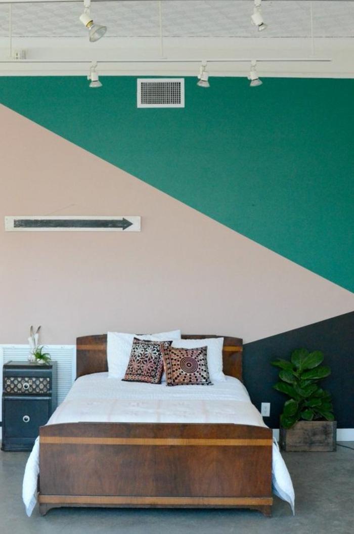 comment peindre un mur, mur en deux couleurs, peinture mur rose et verte