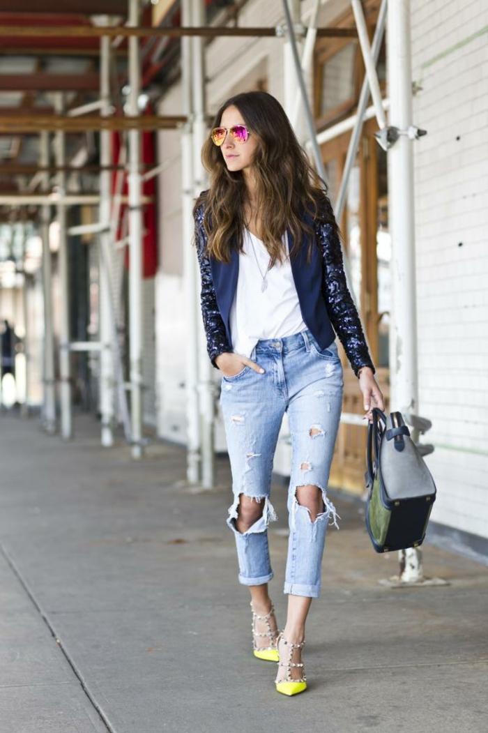 Conseil pour s habiller idée pour s habiller femme jean dechiree blouse blanche