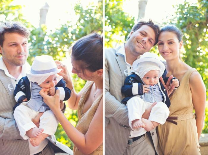 tenue de ceremonie, veste grise, chemise blanche, chapeau blanc, comment s habiller pour un bapteme