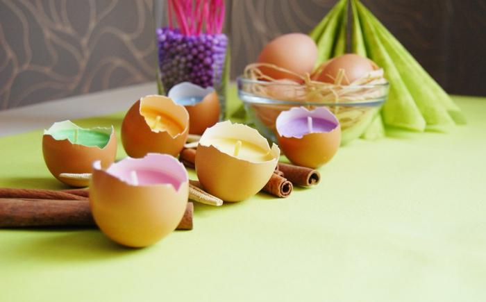 coquille d oeuf transformée en un bougeoir, cire parfumée, colorée, idée comment créer une décoration pour paques