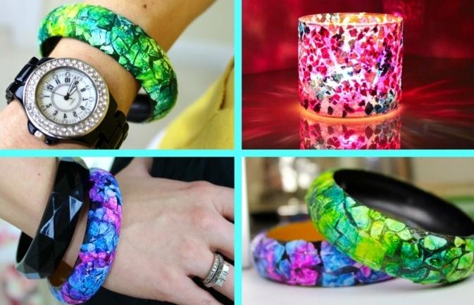 coquille d oeuf coloré pour customiser un bracelet ou un bougeoir, idée comment fabriquer un bijou, activité créative