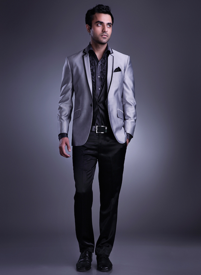 costume en satin gris classe de soirée homme