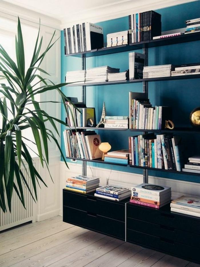 couleur canard, peinture murale bleue et étagère noire, grande plante verte