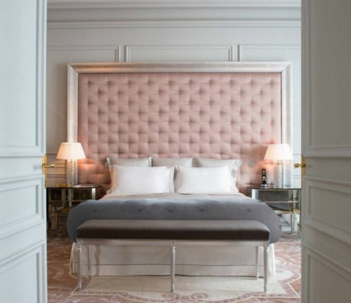 tete de lit gris et rose. Black Bedroom Furniture Sets. Home Design Ideas