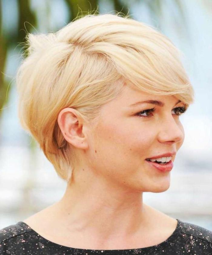 coupe courte visage rond, comment choisir sa coupe de cheveux suivant la forme du visage, idée morpho coiffure, blonde, frange