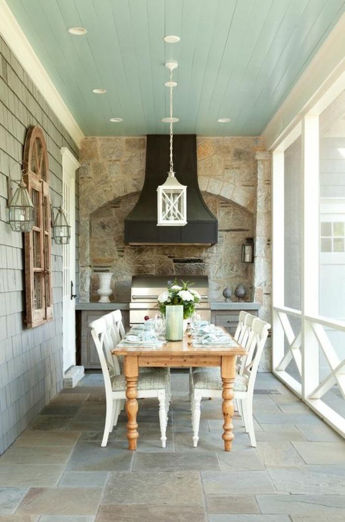cuisine d'été couverte de style rustique au design intemporel
