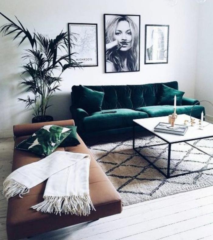 cuisine minimaliste, sofa vert et tapis berbère, table basse blanche, photographie artistique