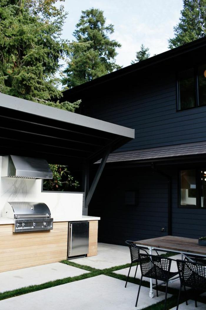 une cuisine d'été couverte de style minimaliste